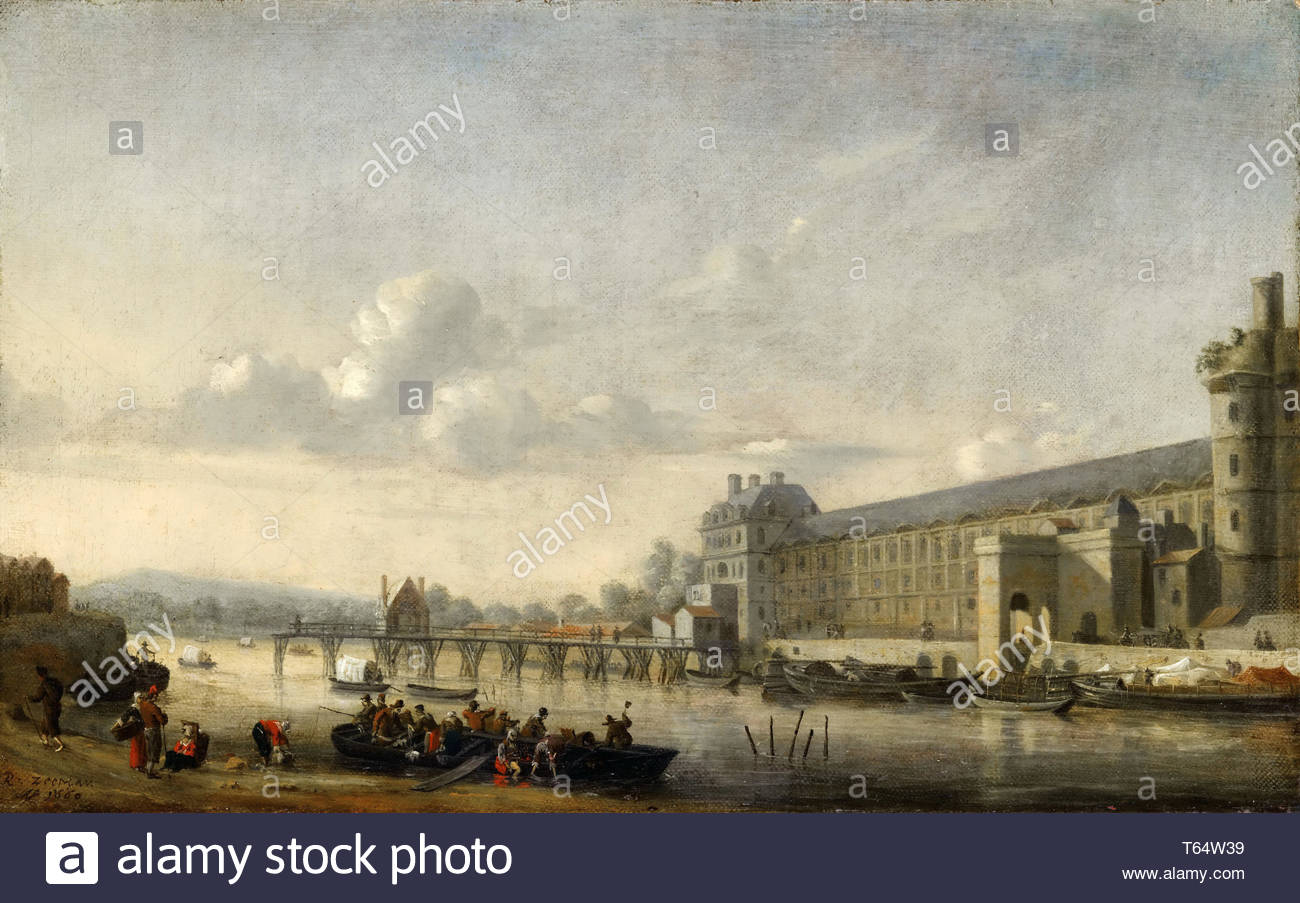 Reinier Nooms-View of the Seine with the south facade of the Grand Gallery - Stock Image