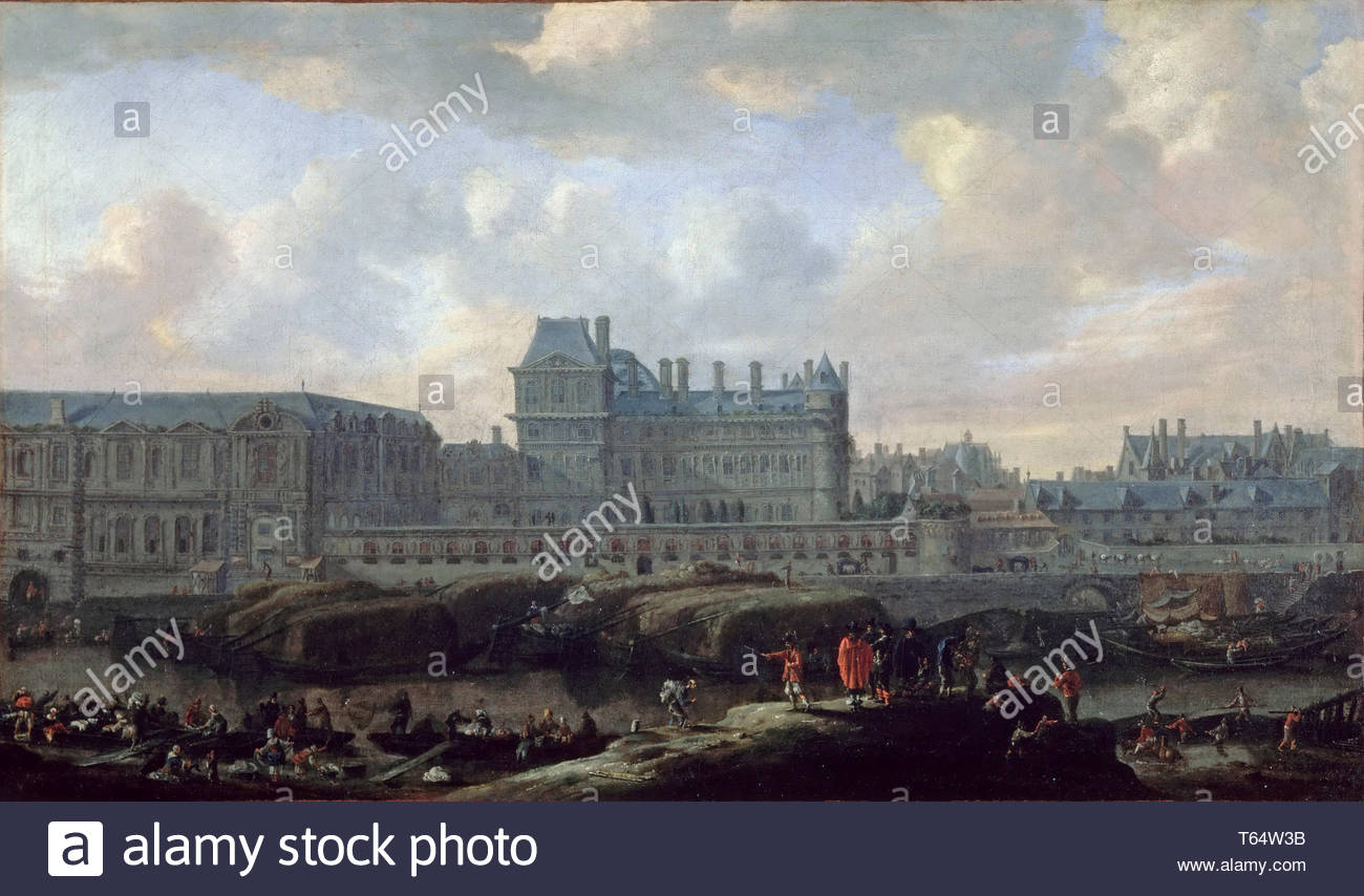 Reinier Nooms-View of the old Louvre and the Petit Bourbon - Stock Image