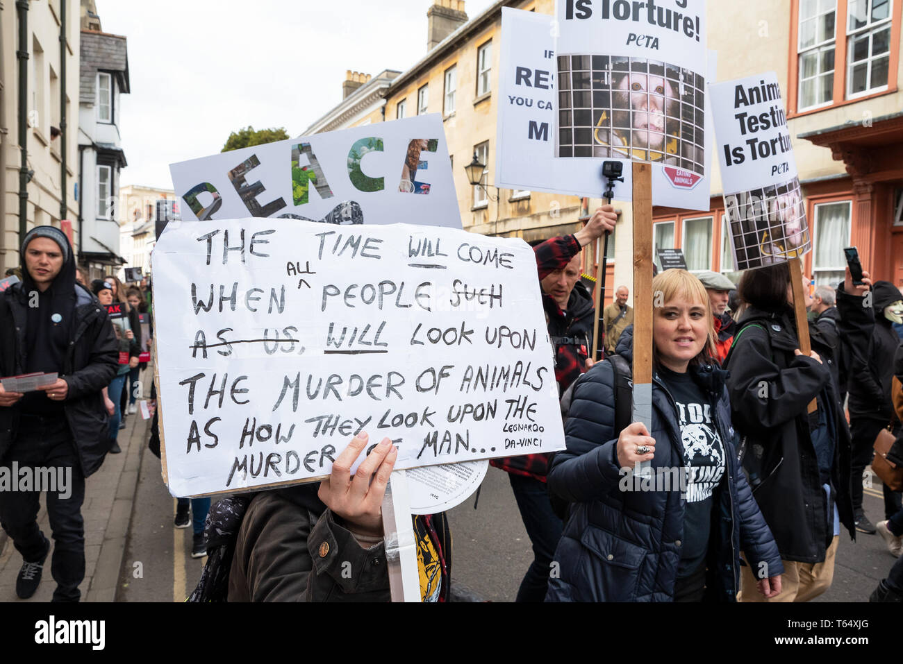 World Day for Animals in Laboratories, Oxford. Activists against animal experiments march through the city centre to highlight their campaign. - Stock Image