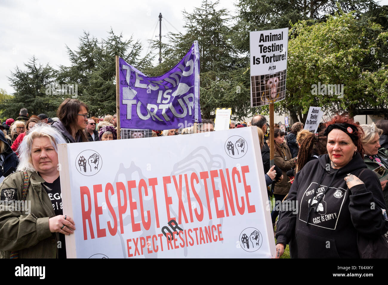 Oxford World Day for Animals in Laboratories. Activists gathered in Oxfords Oxpens Park making ready to march through the city centre. - Stock Image