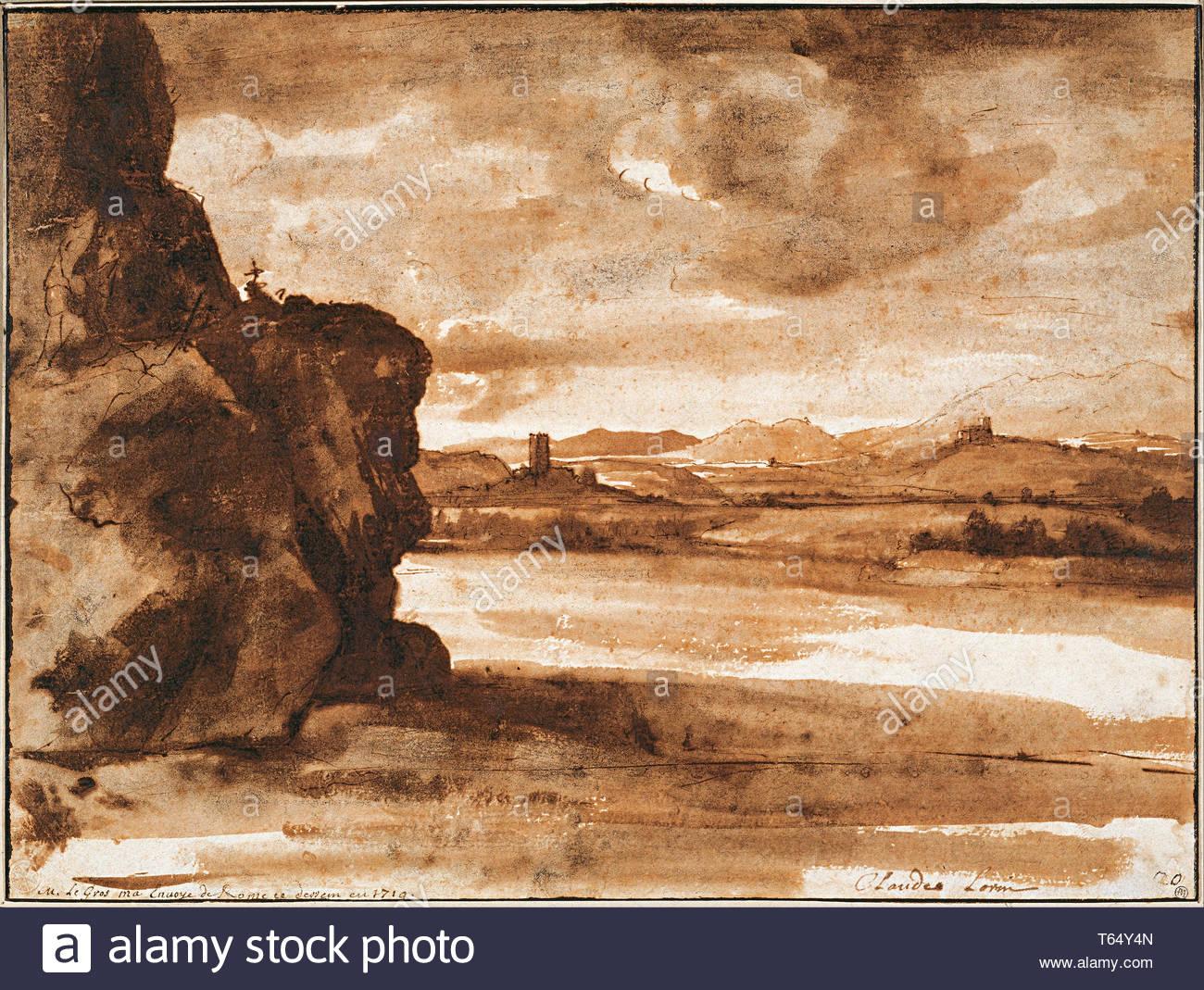Claude Lorrain (1604-1605–1682-Tiber Landscape North of Rome wi - Stock Image