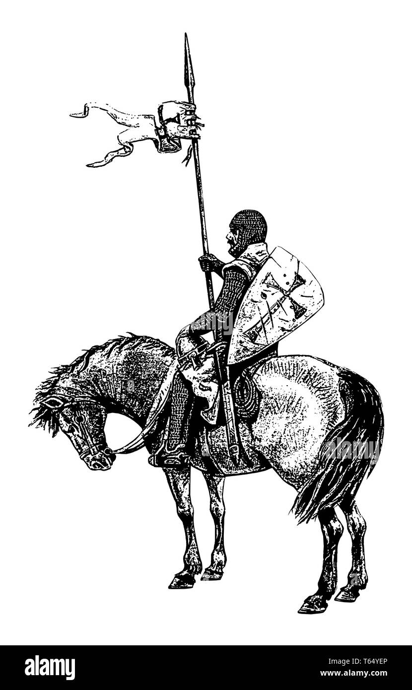 Medieval mounted knight illustration. Templar knight on horseback. Black and white silhouette. - Stock Image