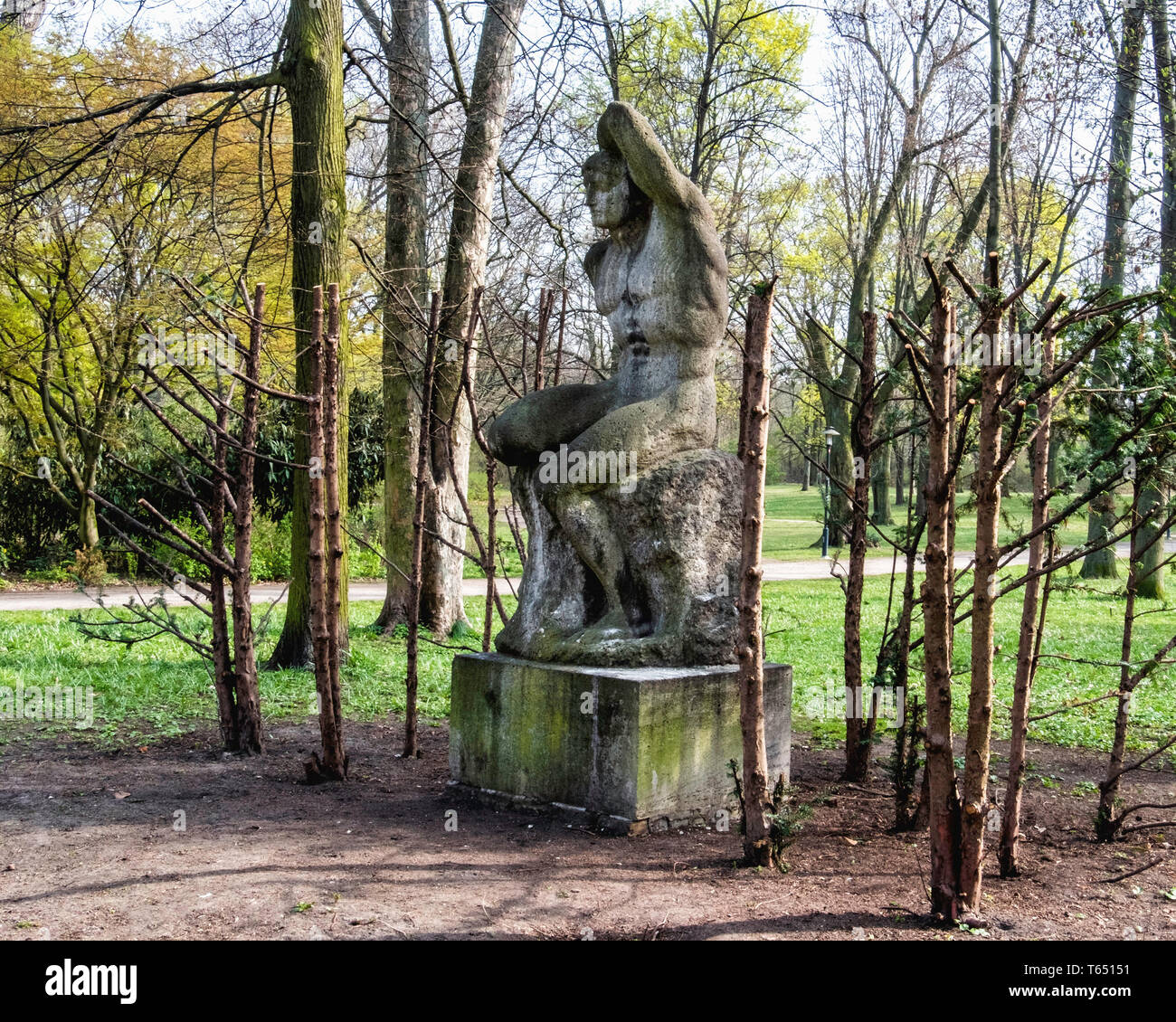 Berlin,Pankow. Weissensee State park, White Lake public park. Sculpture, The Swimmer,  by sculptor Otto Placzekhe, Stock Photo