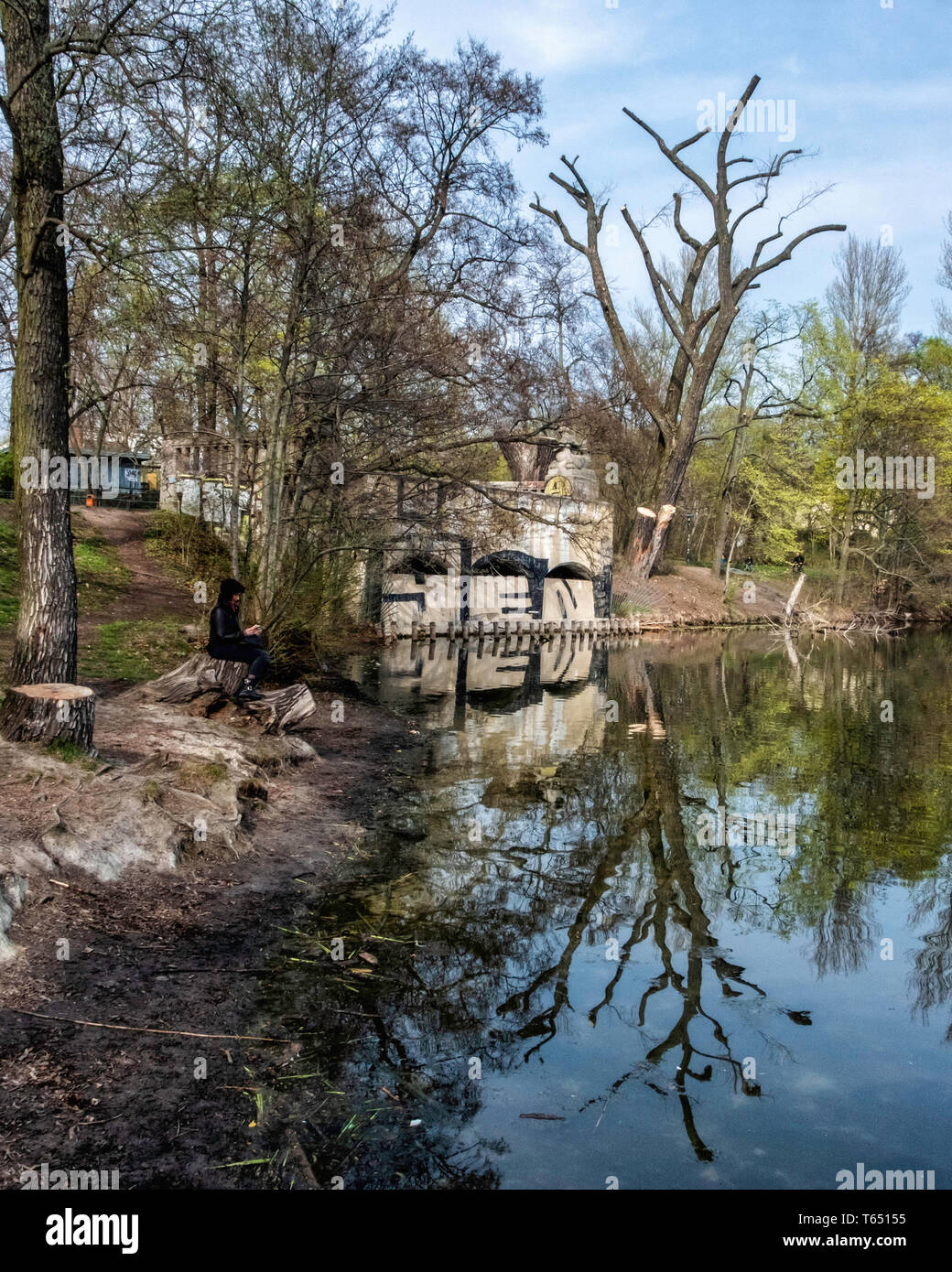 Berlin,Pankow. Weissensee State park, White Lake observation deck  and viewing point Stock Photo