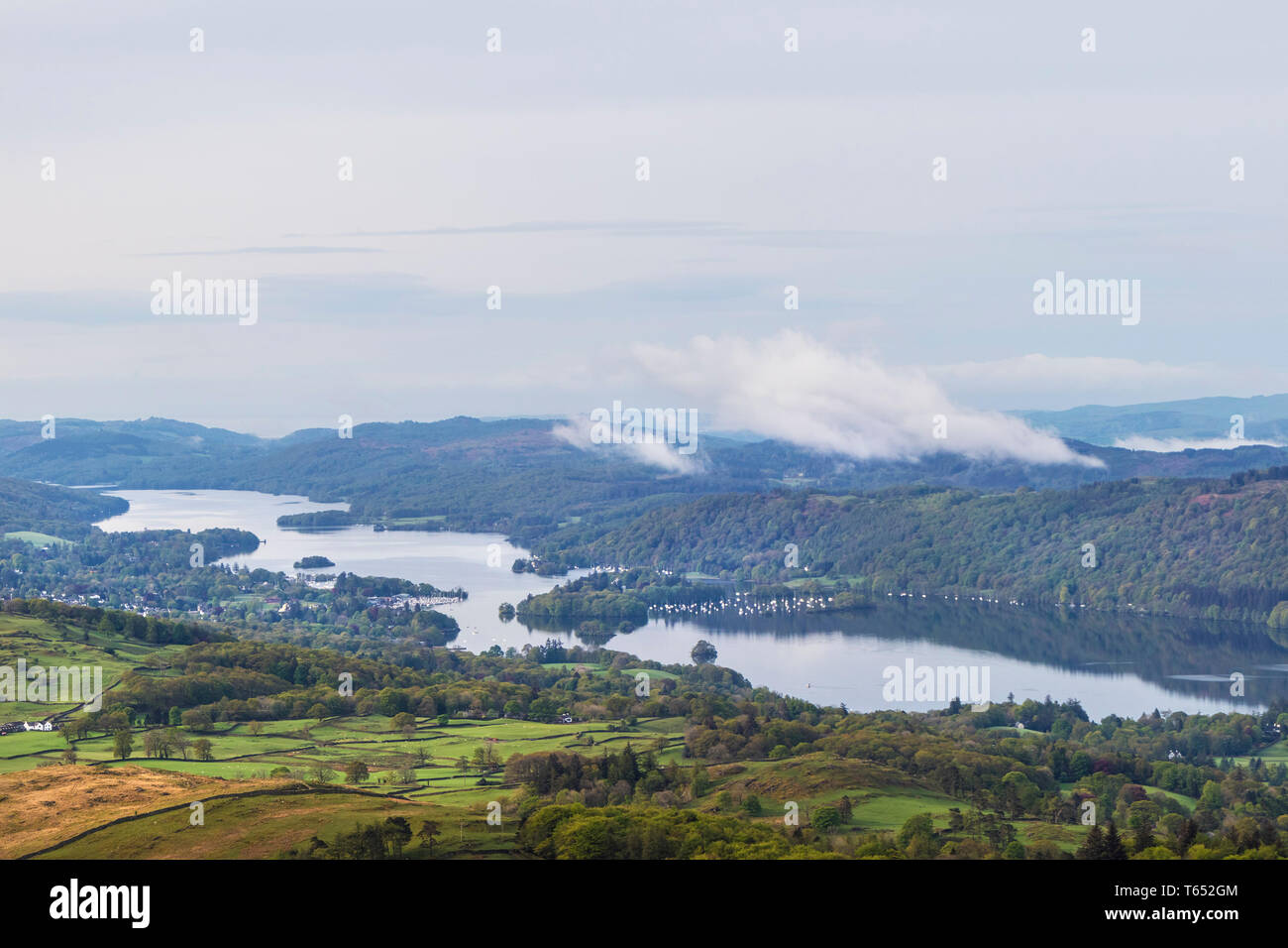 Windermere from the Slopes of Sour Howes, Lake District, Cumbria, UK - Stock Image
