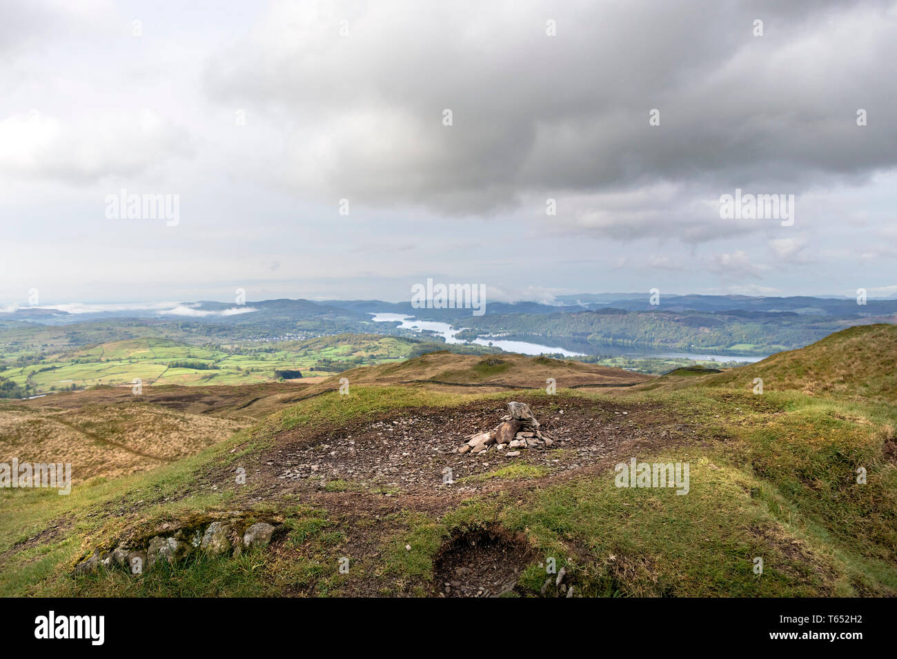 The Summit of Sour Howes with Windermere Beyond, Lake District, Cumbria, UK - Stock Image