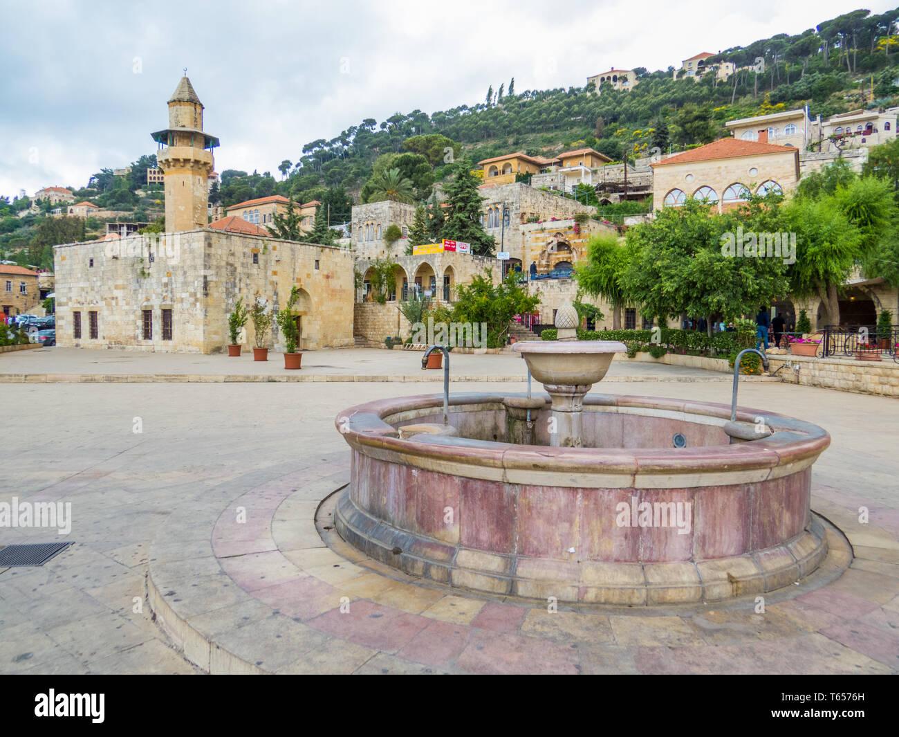 DEIR AL-QAMAR, LEBANON - MAY 20, 2017: View of the Fakhreddine II Palace and the village's main square. - Stock Image