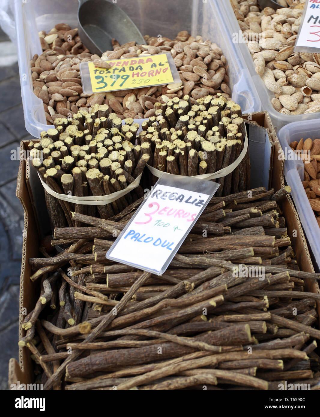 Liquorice, Glycyrrhiza glabra Stock Photo