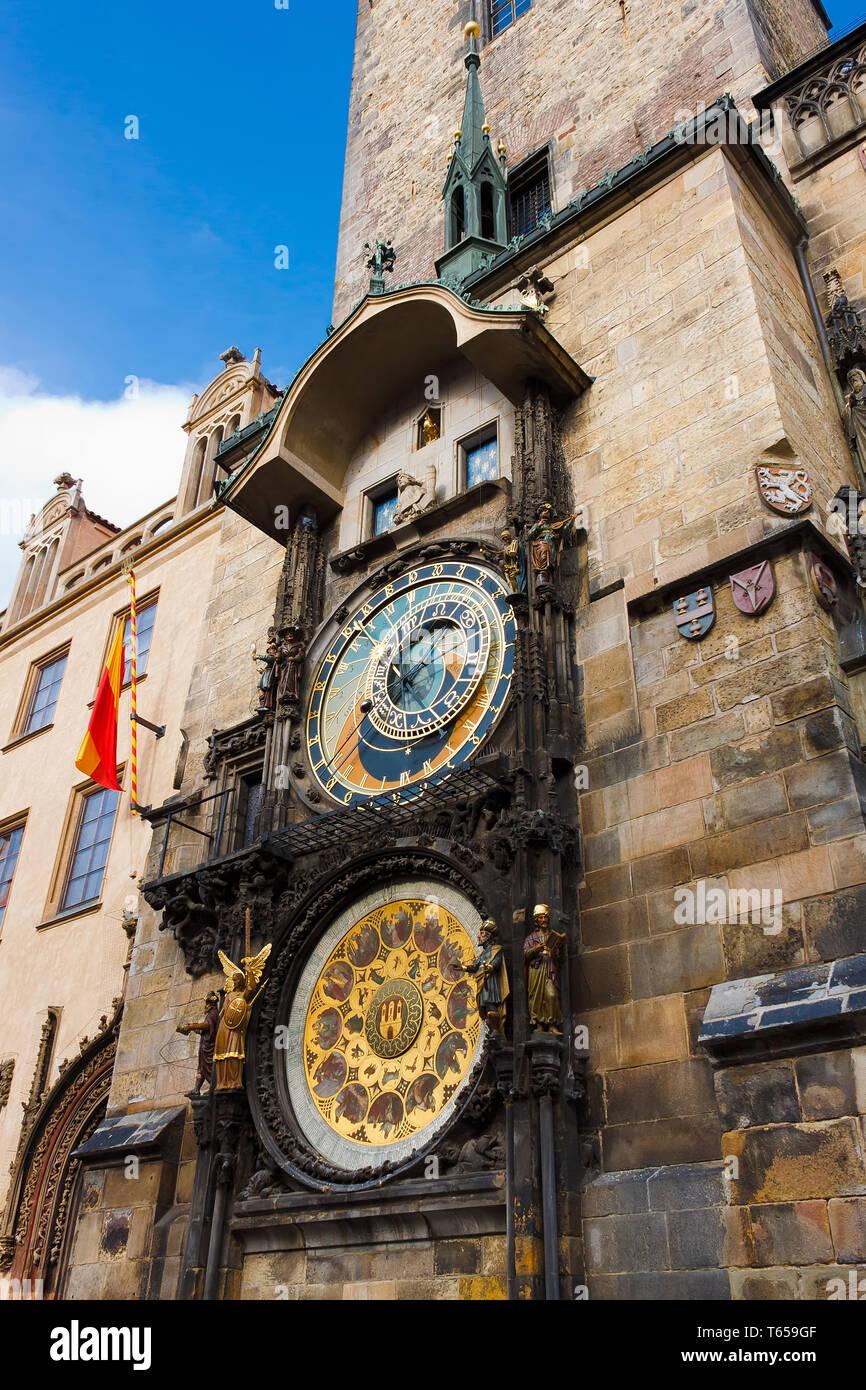 Fascinating very old Prague Astronomical Clock -Prague Orloj - Stock Image