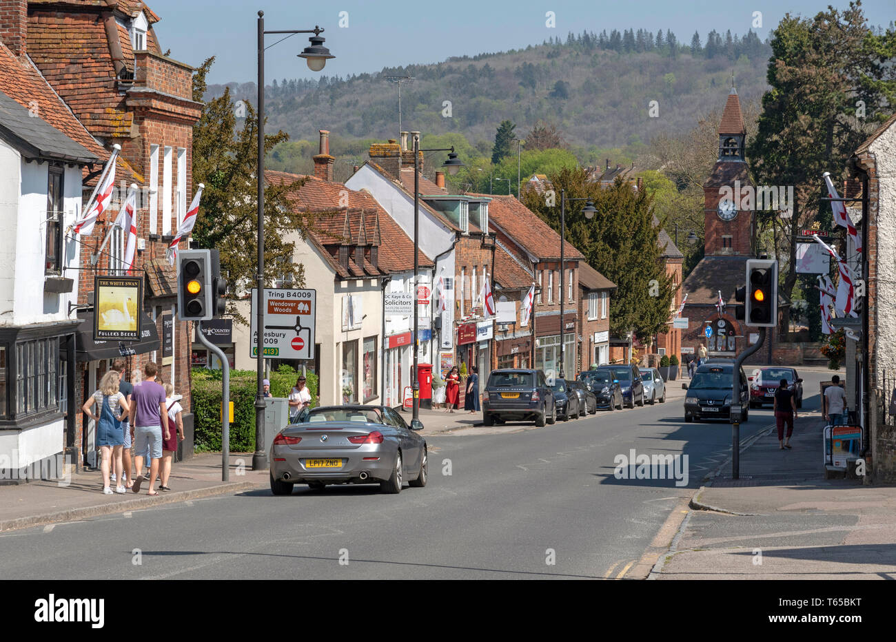 Wendover, Buckinghamshire, England, UK. April 2019. High Street, Wendover in The Chiltern Hills area. A market town with Clock Tower dating from 1842. - Stock Image