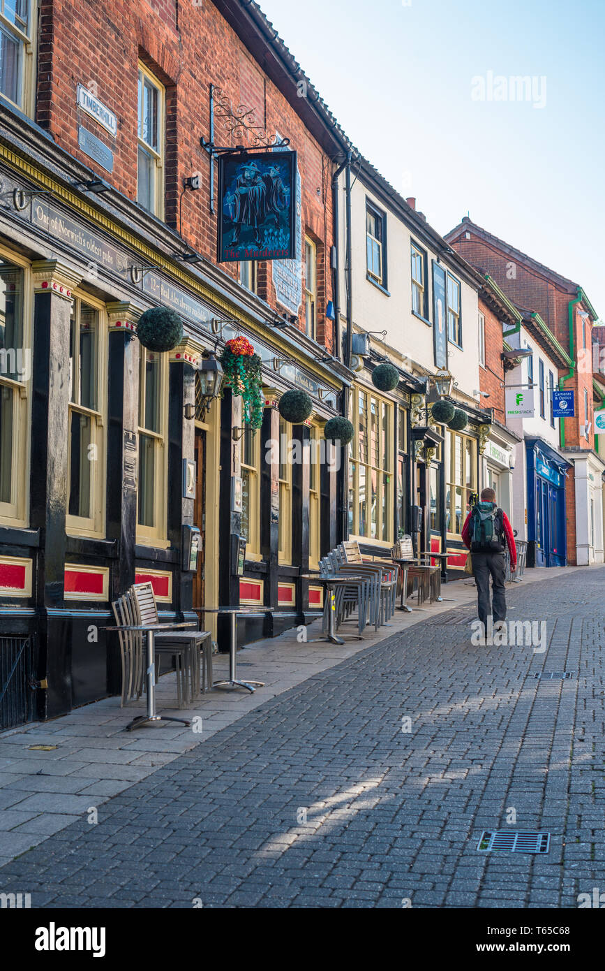 Norwich city street and pub. Norfolk, England, UK. - Stock Image