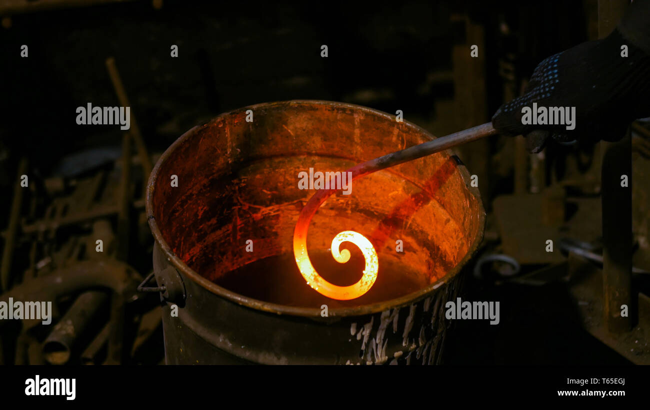 Blacksmith quenching hot iron part of forged gate - Stock Image