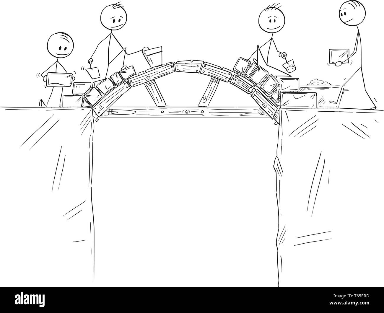 Cartoon stick figure drawing conceptual illustration of group of builders or workers or businessmen working and building a bridge over the chasm or precipice. Concept of teamwork and problem solution. - Stock Vector