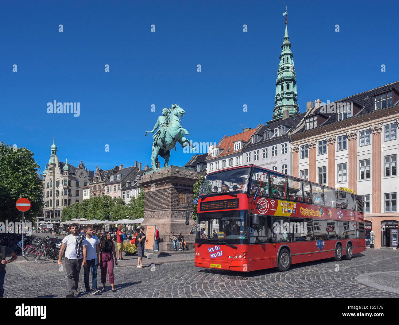 The equestrian statue of Absalon on Hojbro Plads in Copenhagen commemorates the city founder Bishop Absalom, Copenhagen, Zealand, Denmark 07/06/2018   - Stock Image