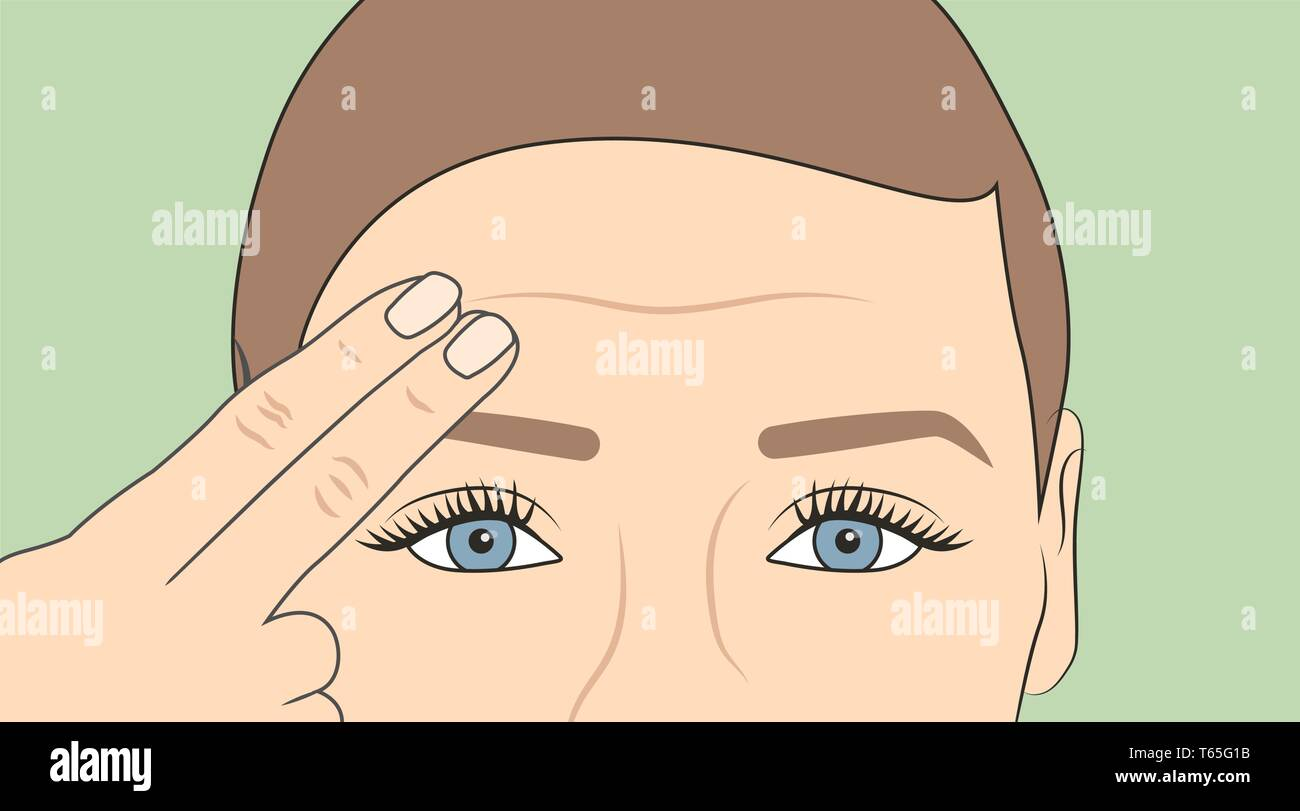 Woman using fingers to show onset of wrinkles & aging - Stock Vector
