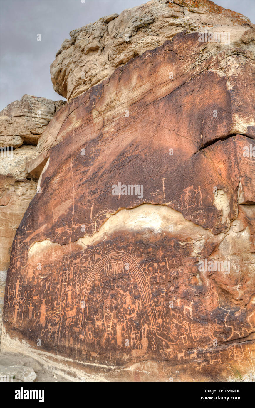 Rochester Rock Petroglyph Panel, Near Emery, Utah, USA - Stock Image