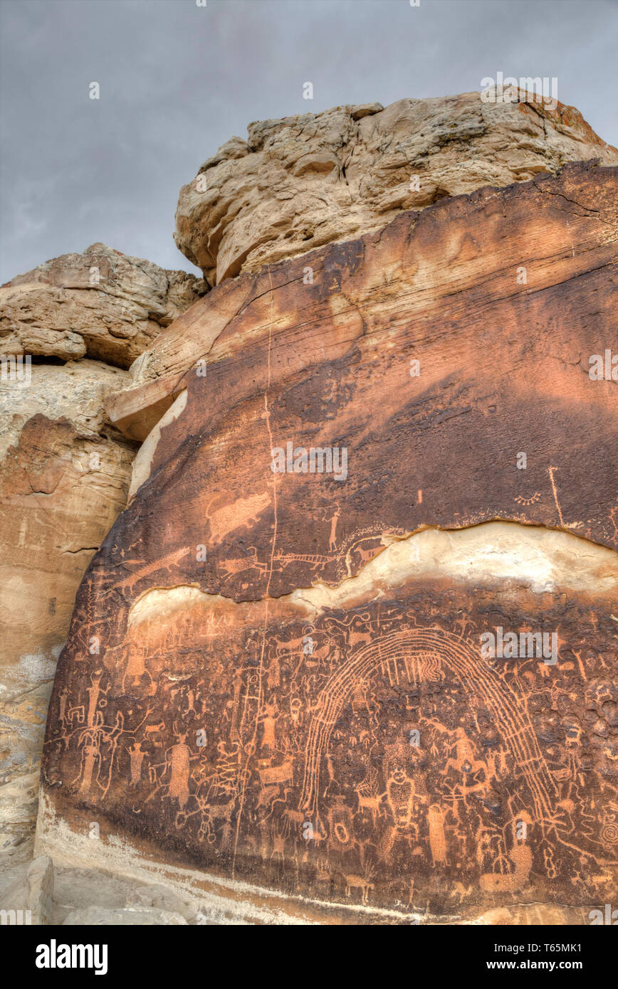 Rochester Rock Petroglyph Panel, Near Emery, Utah, USA - Stock Image