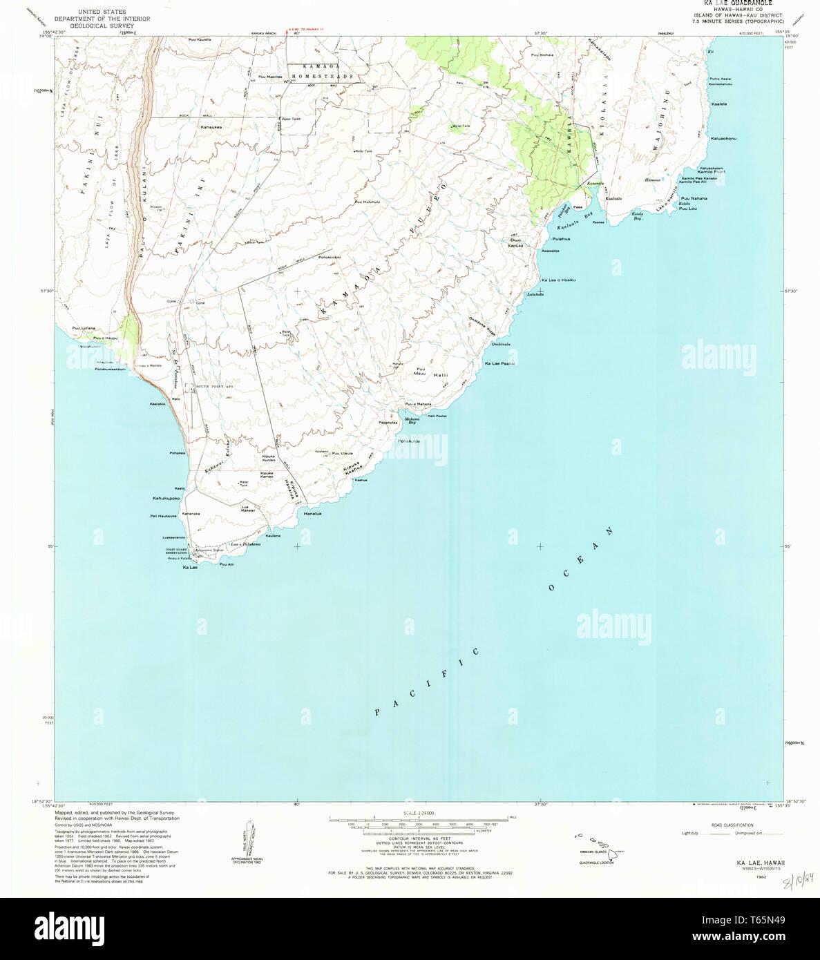 USGS TOPO Map Hawaii HI Ka Lae 349315 1982 24000 Restoration ...