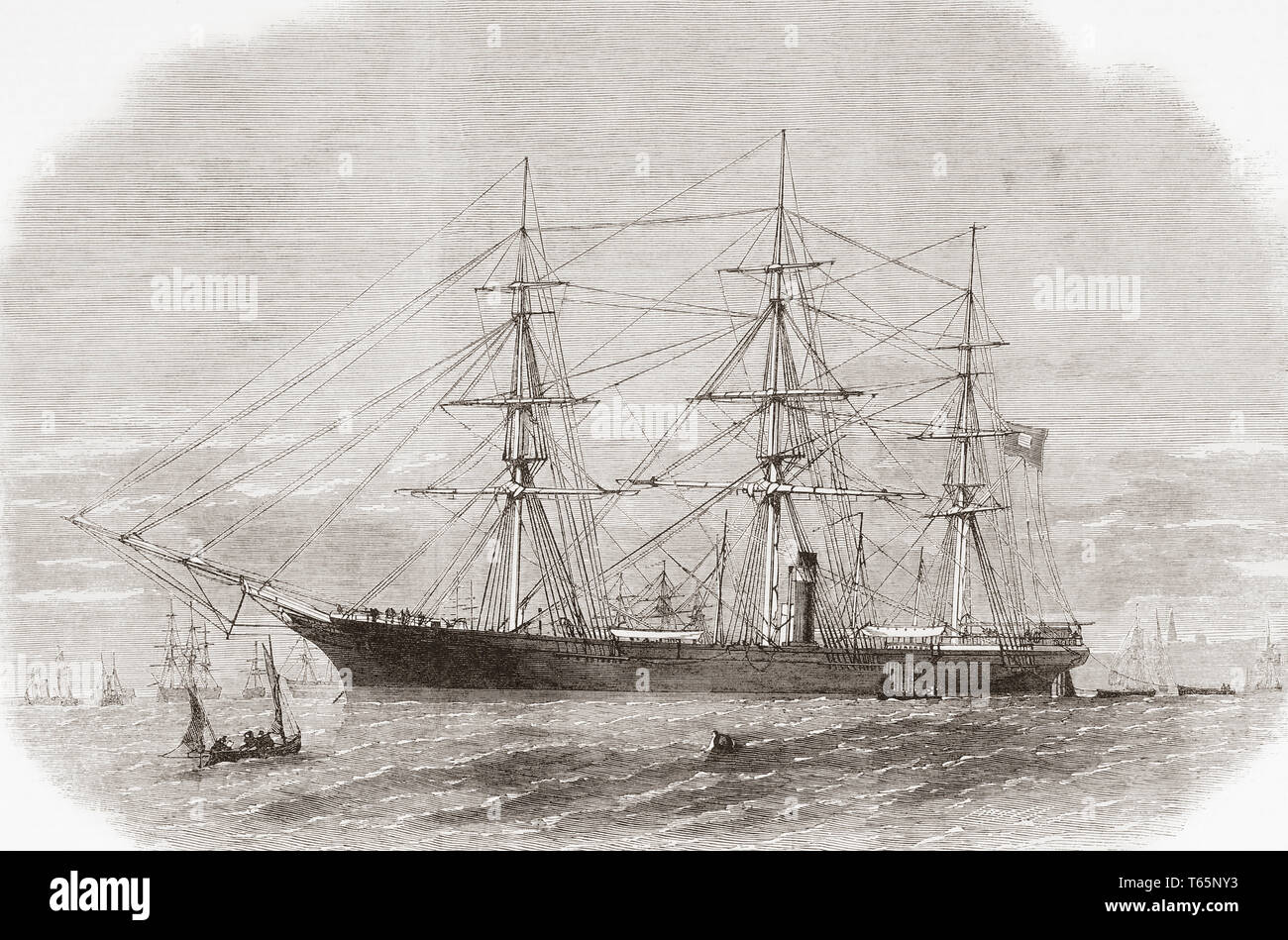 The surrender of the CSS Shenandoah on the River Mersey, Liverpool, England, November 6, 1865.  From The Illustrated London News, published 1865. - Stock Image