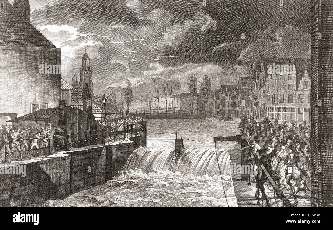 Flooding of the lock in Delfshaven, Rotterdam, Netherlands on November 14, 1775.  After an 18th century engraving. - Stock Image