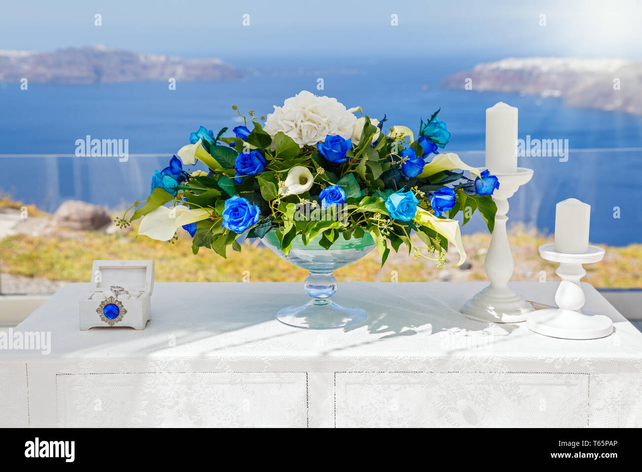 Wedding Decorations And Bouquet With Blue Flowers On The