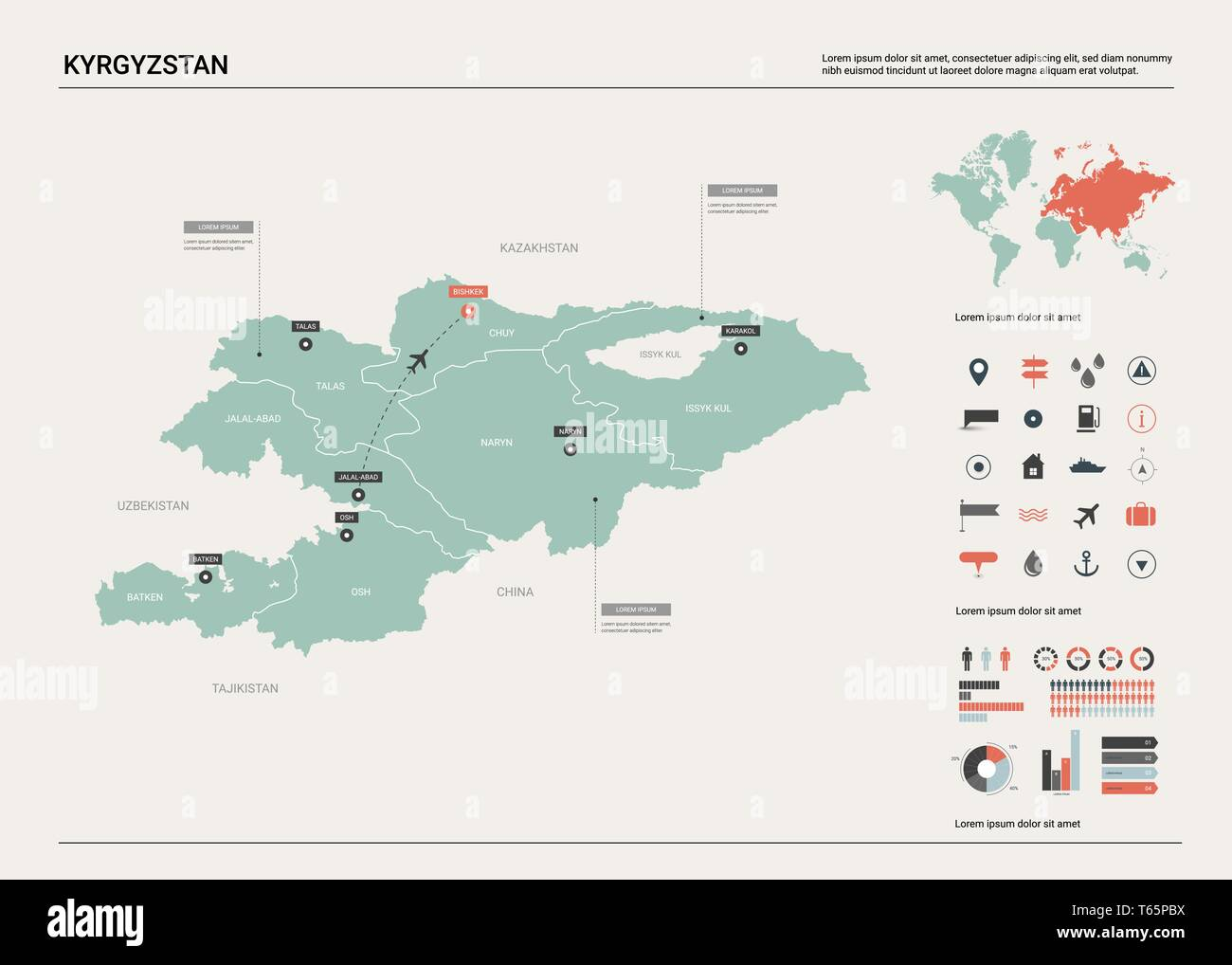 Picture of: Vector Map Of Kyrgyzstan High Detailed Country Map With Division Cities And Capital Bishkek Political Map World Map Infographic Elements Stock Vector Image Art Alamy