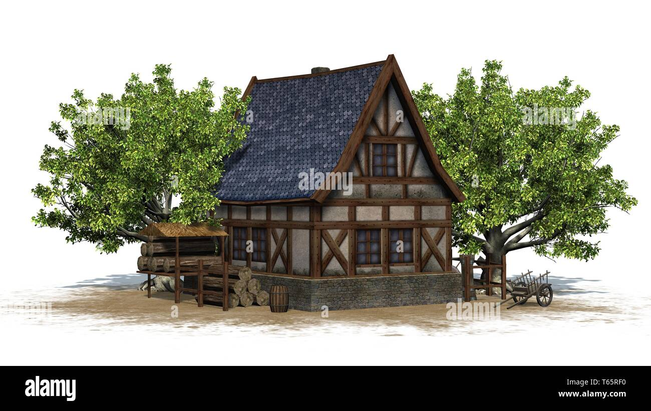 medieval cottage between trees - isolated on white background - 3D illustration - Stock Image