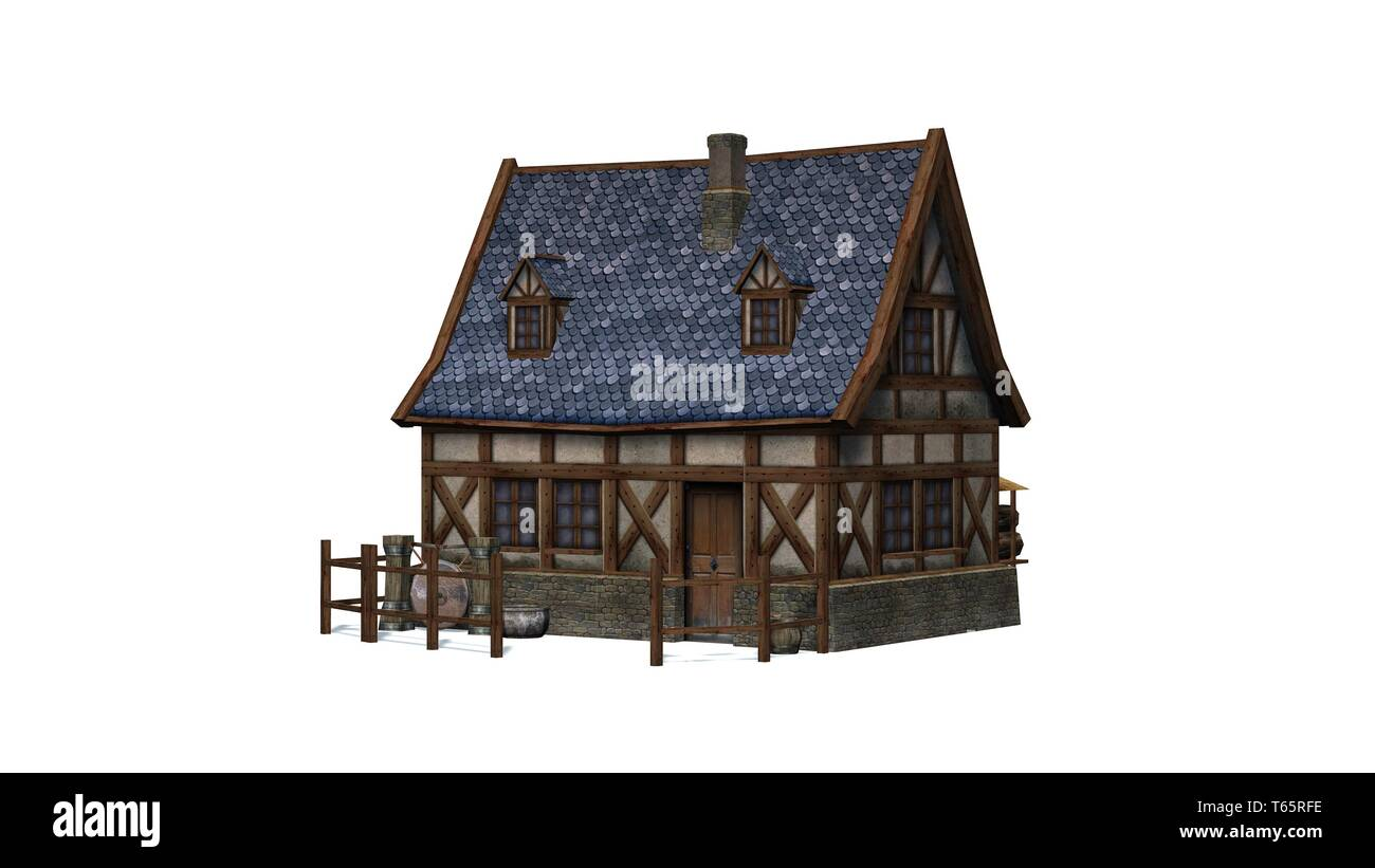 medieval cottage - isolated on white background - 3D illustration - Stock Image