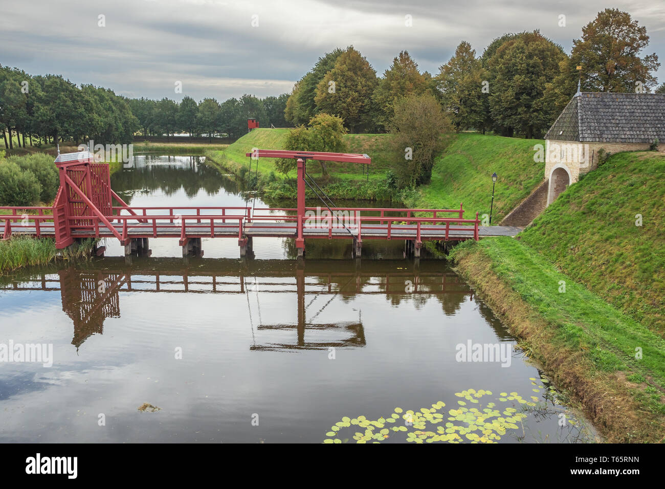 Looking down at the access bridge to the fortification of Bourtange - Stock Image