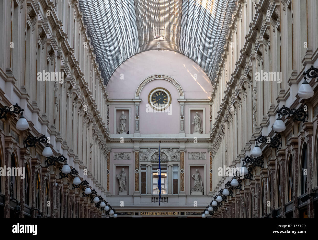 Galeries Royales Saint Hubert. Ornate nineteenth century shopping arcades in the centre of Brussels, designed by Jean-Pierre Cluysenaer. - Stock Image