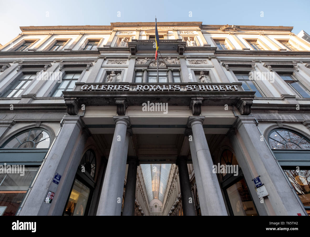 Galeries Royales Saint Hubert. Ornate nineteenth century shopping arcades in the centre of Brussels. Photographed from the outside. - Stock Image