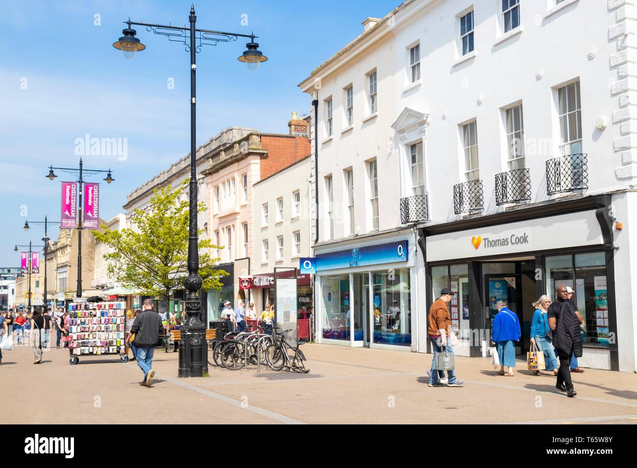 Cheltenham high street cheltenham shopping Shoppers on the High Street, Cheltenham Spa, Gloucestershire, England, UK, EU, Europe - Stock Image