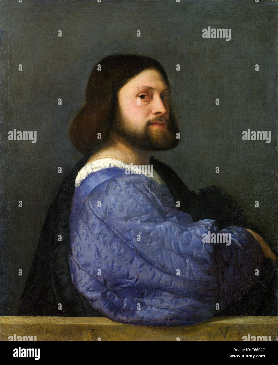 Titian, A Man with a Quilted Sleeve (Portrait of Ariosto), c. 1510 - Stock Image
