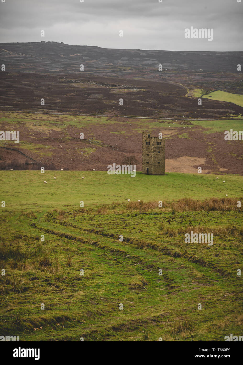 Stone Tower in the Peak District Moorland - Stock Image