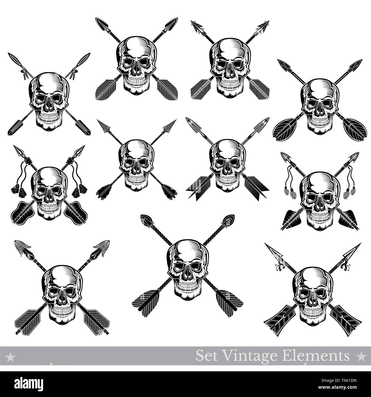 Set of front view skulls with lower jaw with different crossed arrows. Vector heraldic design elements isolated on white - Stock Image