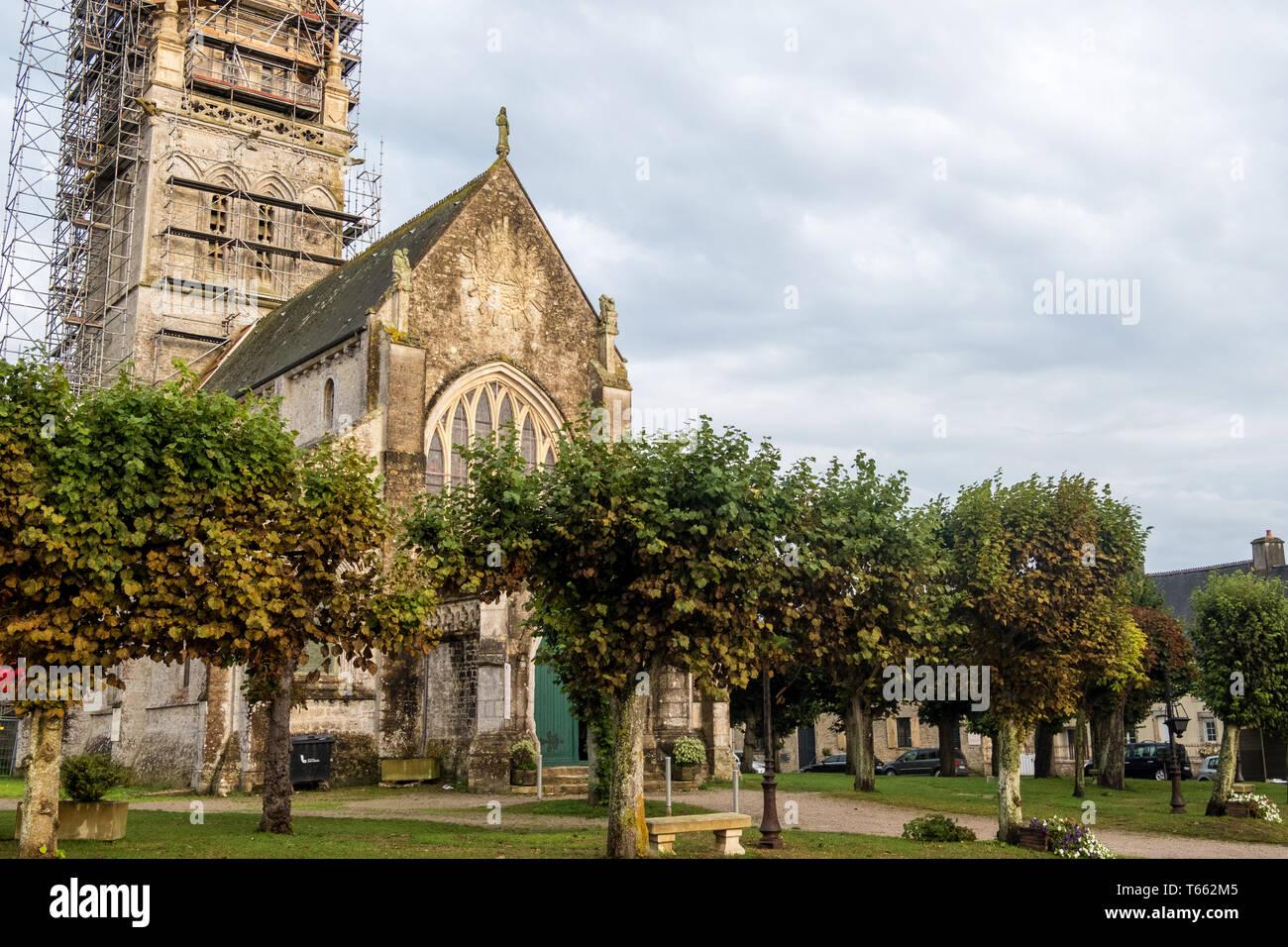 Sainte-Marie-du-Mont, France - August 16, 2018: The church of Notre-Dame of the Assumption in Sainte-Marie-du-Mont. Normandy, France Stock Photo