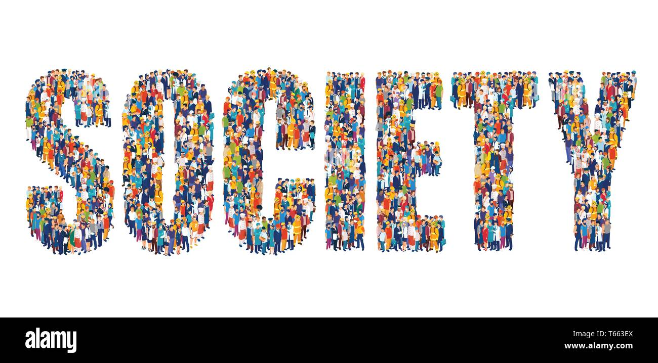 Vector of people of different occupations and professions making up a word society on white backgroud - Stock Image