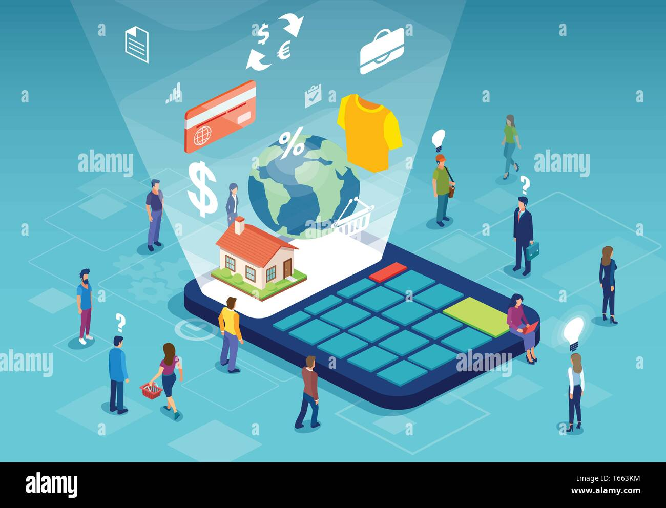 Isometric vector of group of people shopping for the best real estate deal - Stock Vector