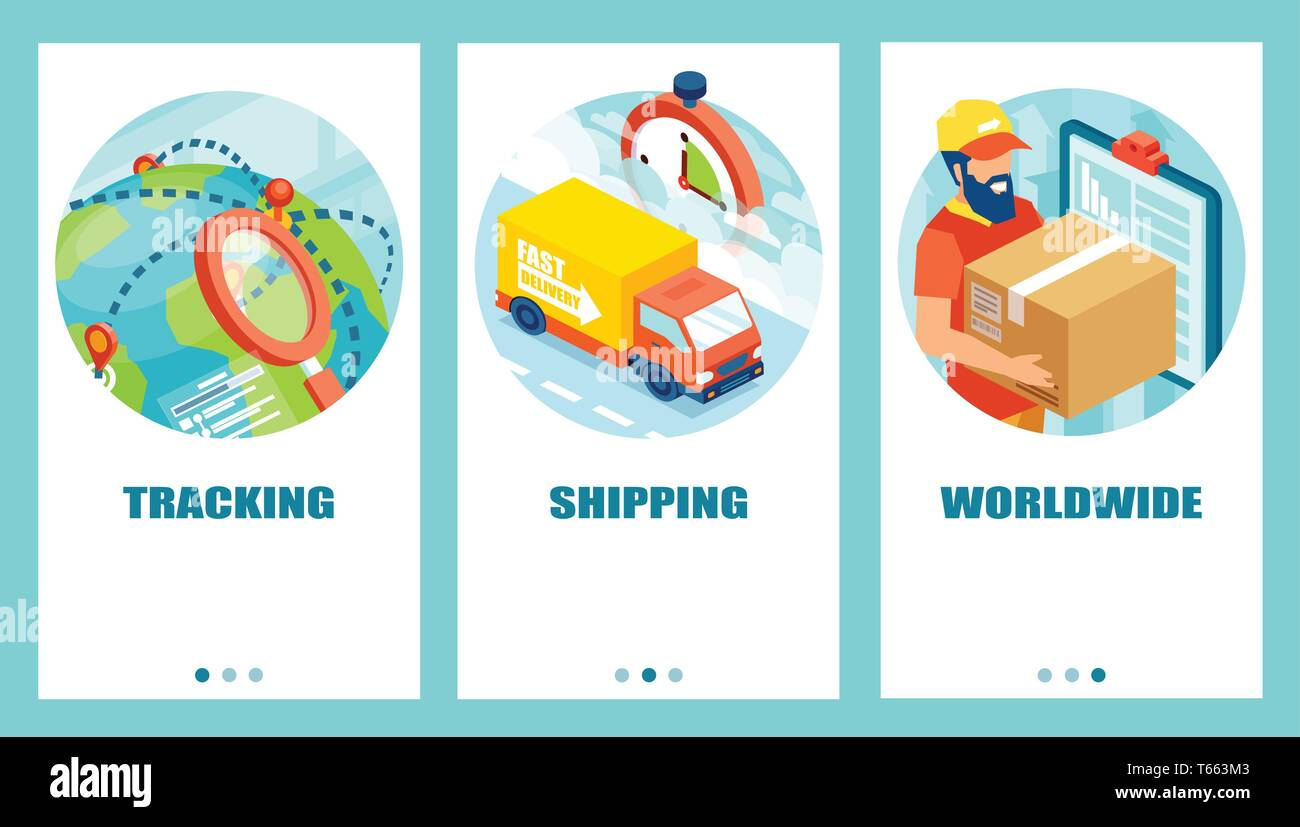 Vector concept of delivery service worldwide and tracking system - Stock Image
