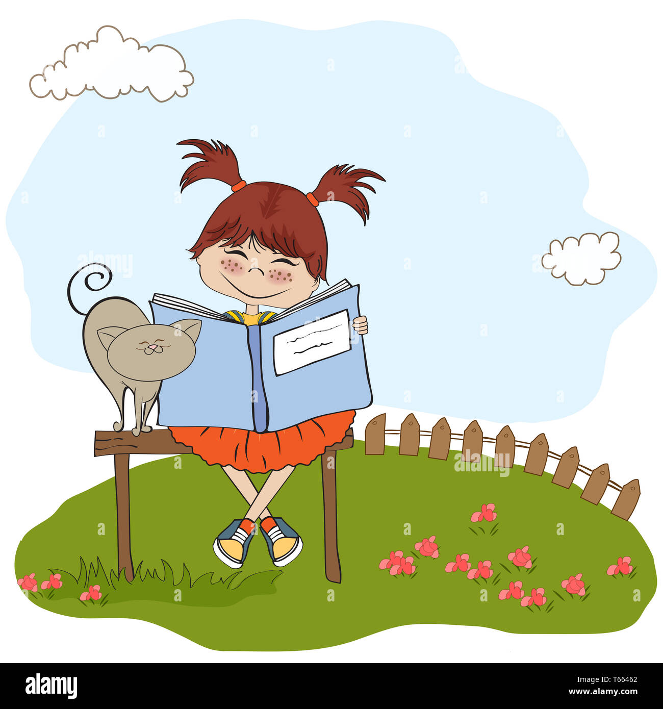 young sweet girl reading a book Stock Photo