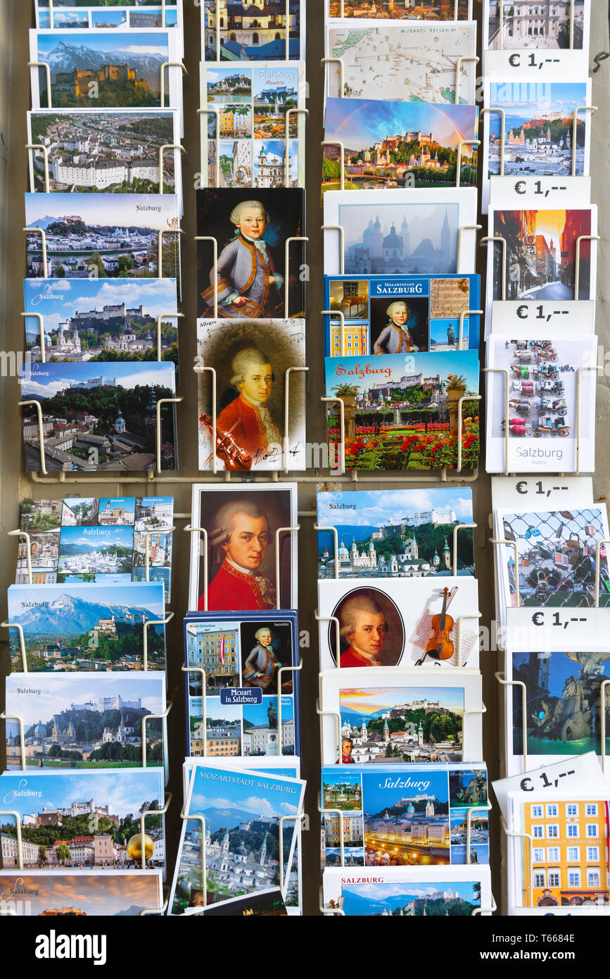 Salzburg postcard, view of a rack of postcards on sale in Salzburg Old Town (Altstadt), Austria. Stock Photo