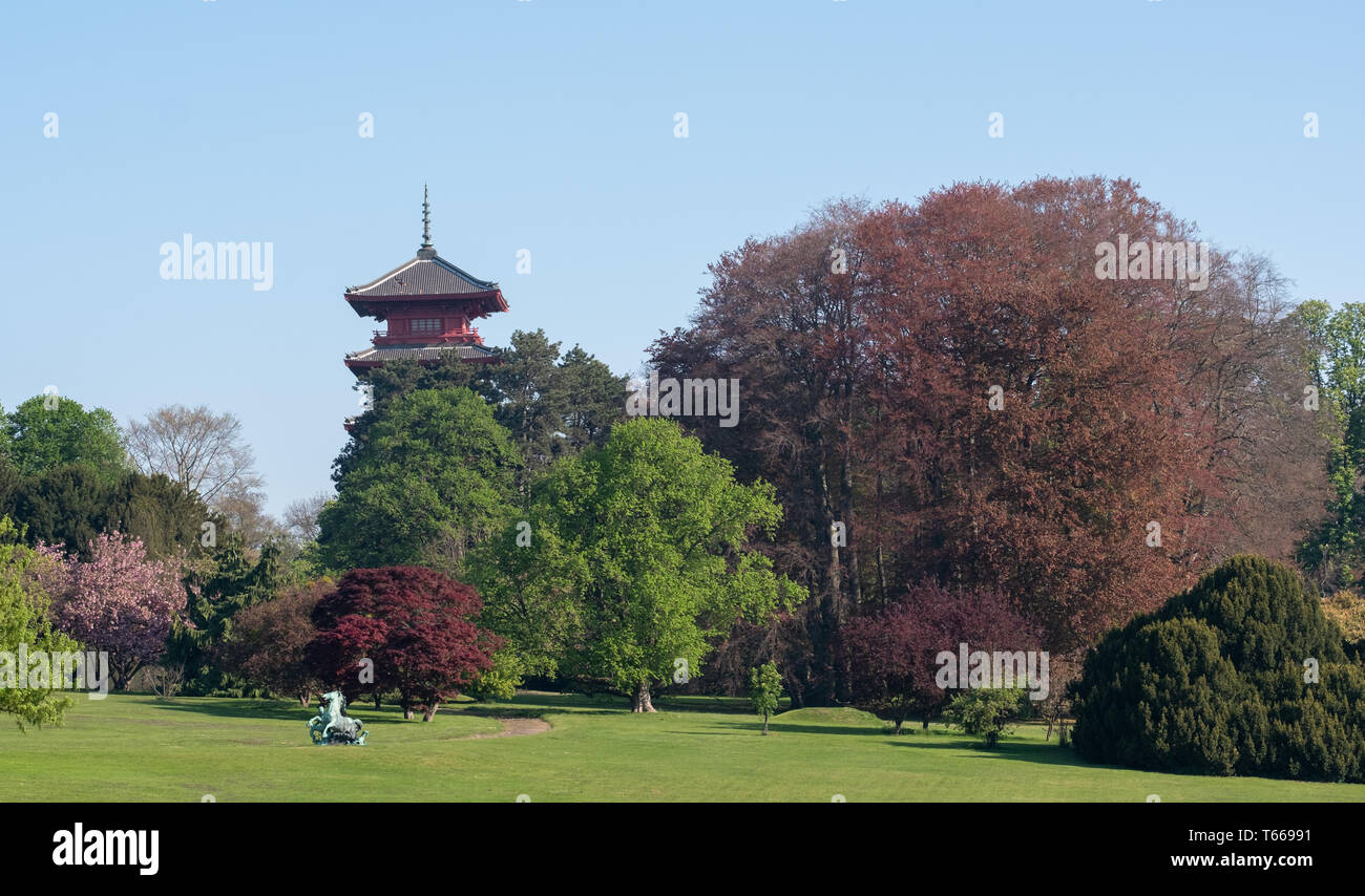 The Japanese Tower or Pagoda in the grounds of the Castle of Laeken, the home in north Brussels of the Belgian royal family. - Stock Image