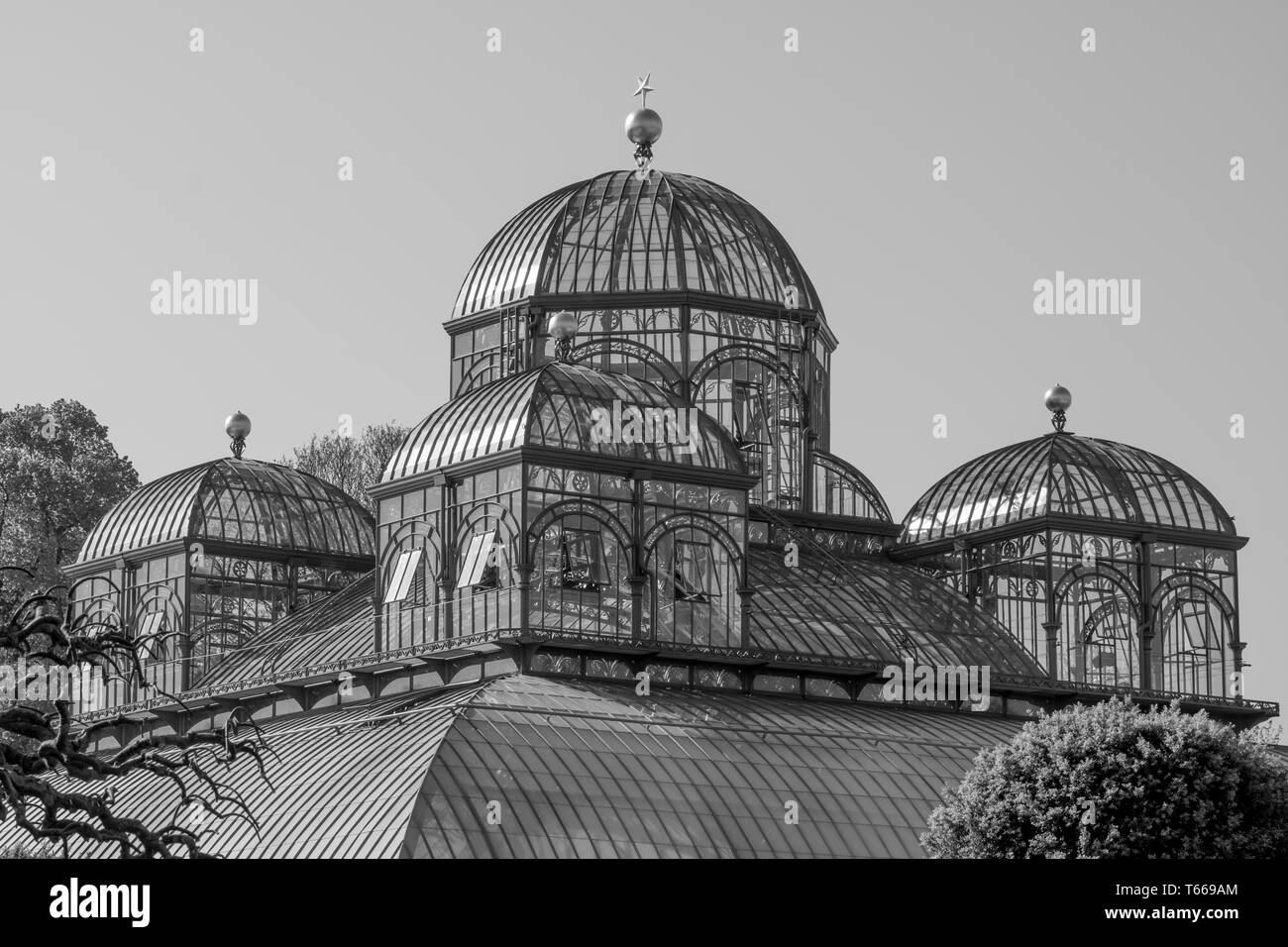 The Royal Greenhouses at Laeken, composed of a complex of a number of greenhouses which include the Congo Greenhouse. Photographed in monochrome. - Stock Image