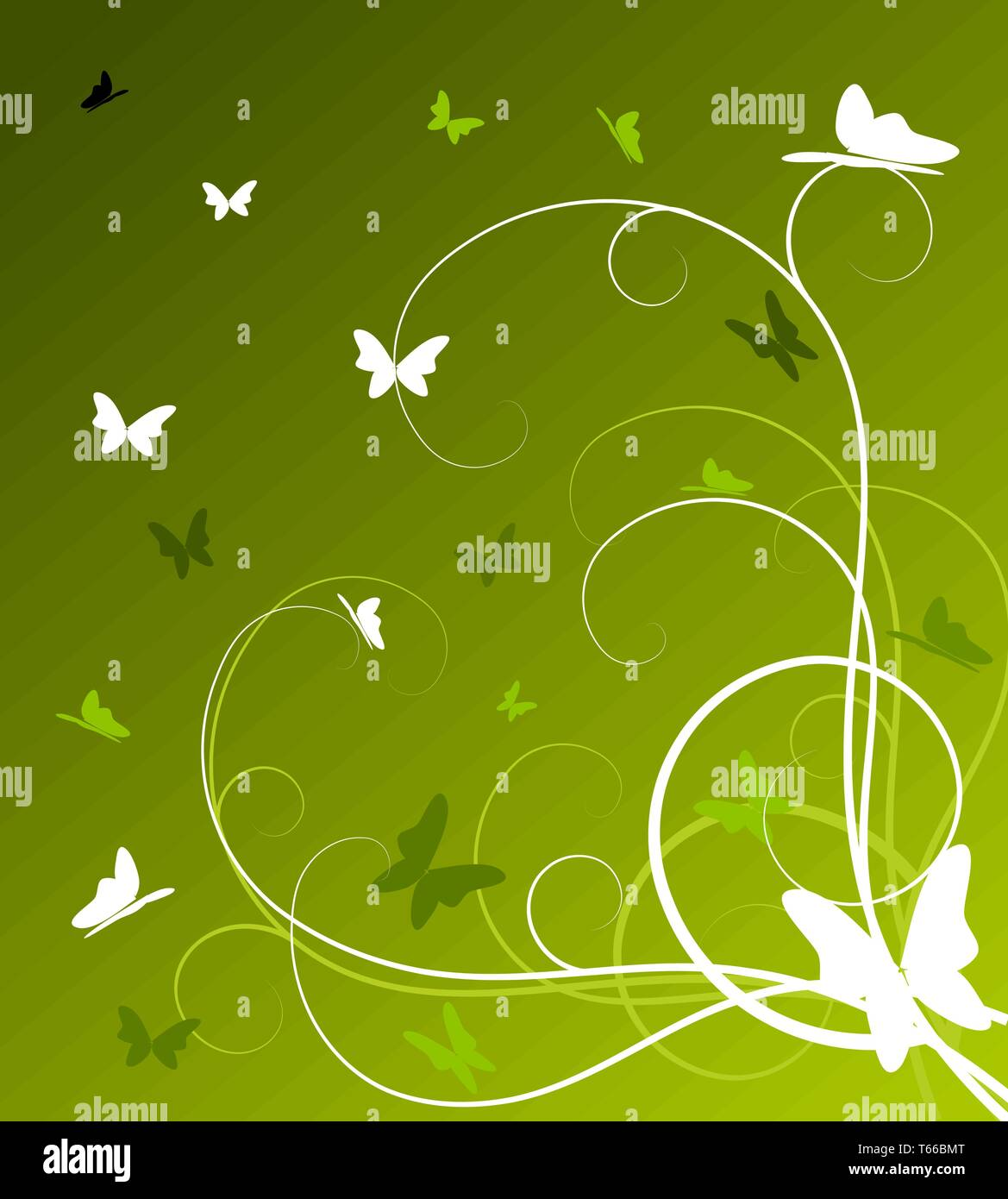 Abstract Spring Floral Background With Butterflies Vector