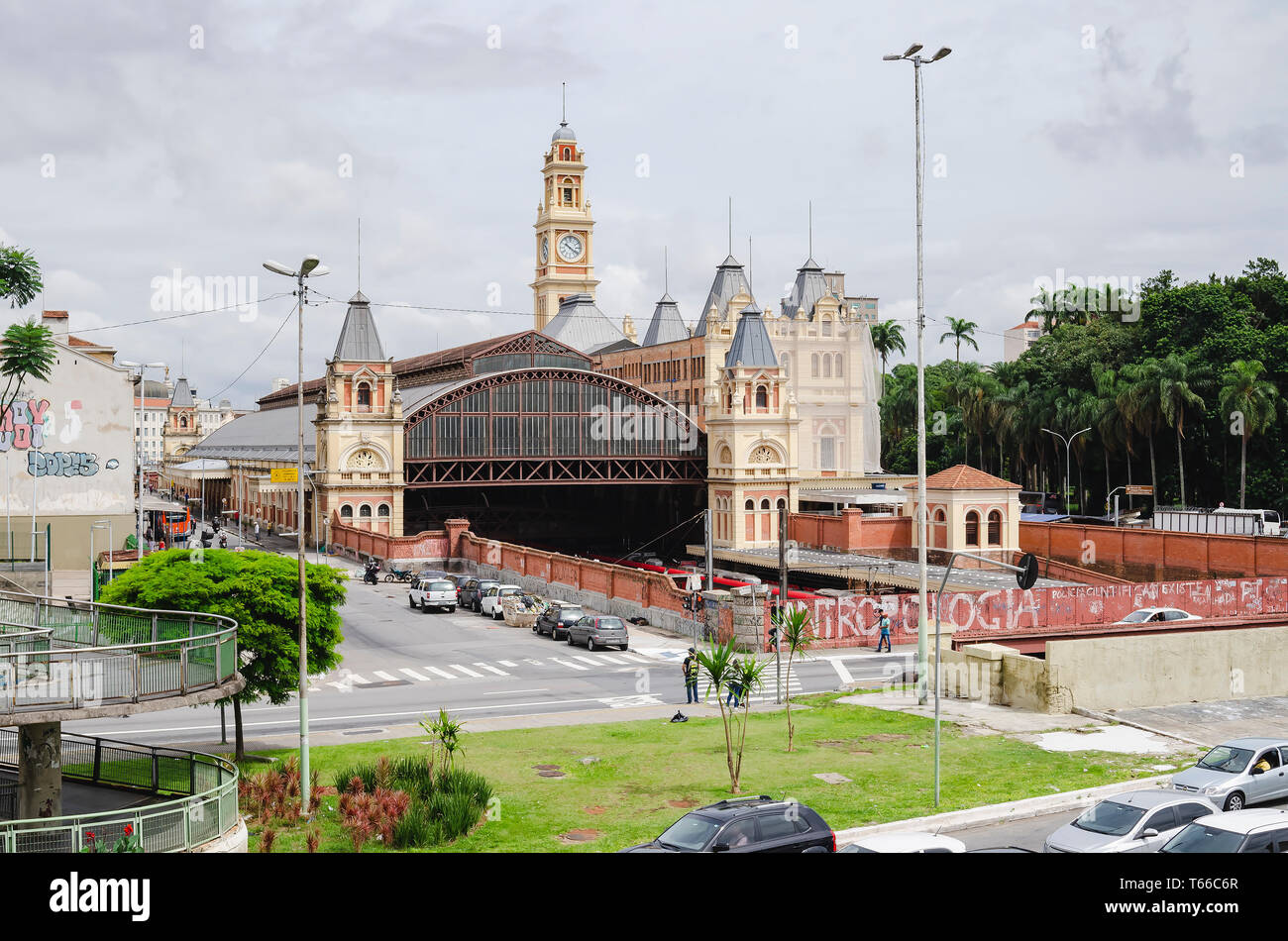 Sao Paulo SP, Brazil - February 27, 2019: Train CPTM, Luz station and the Museum of Portuguese Language on side. Stock Photo