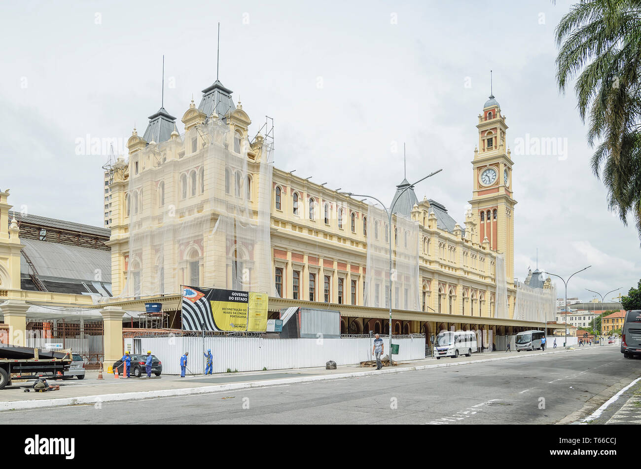Sao Paulo SP, Brazil - February 27, 2019: Museum of Portuguese Language (Museu da Lingua Portuguesa) under reform and restoration. Cultural tourist sp Stock Photo