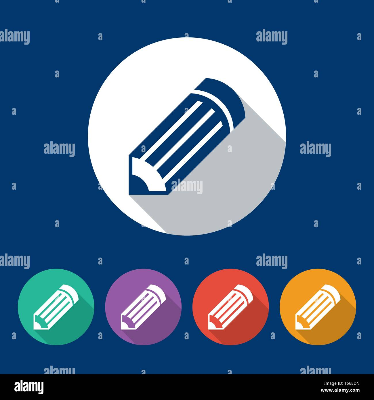 47312ba91 Pencil. Different colors of round flat icons. Vector illustration for your  design. -