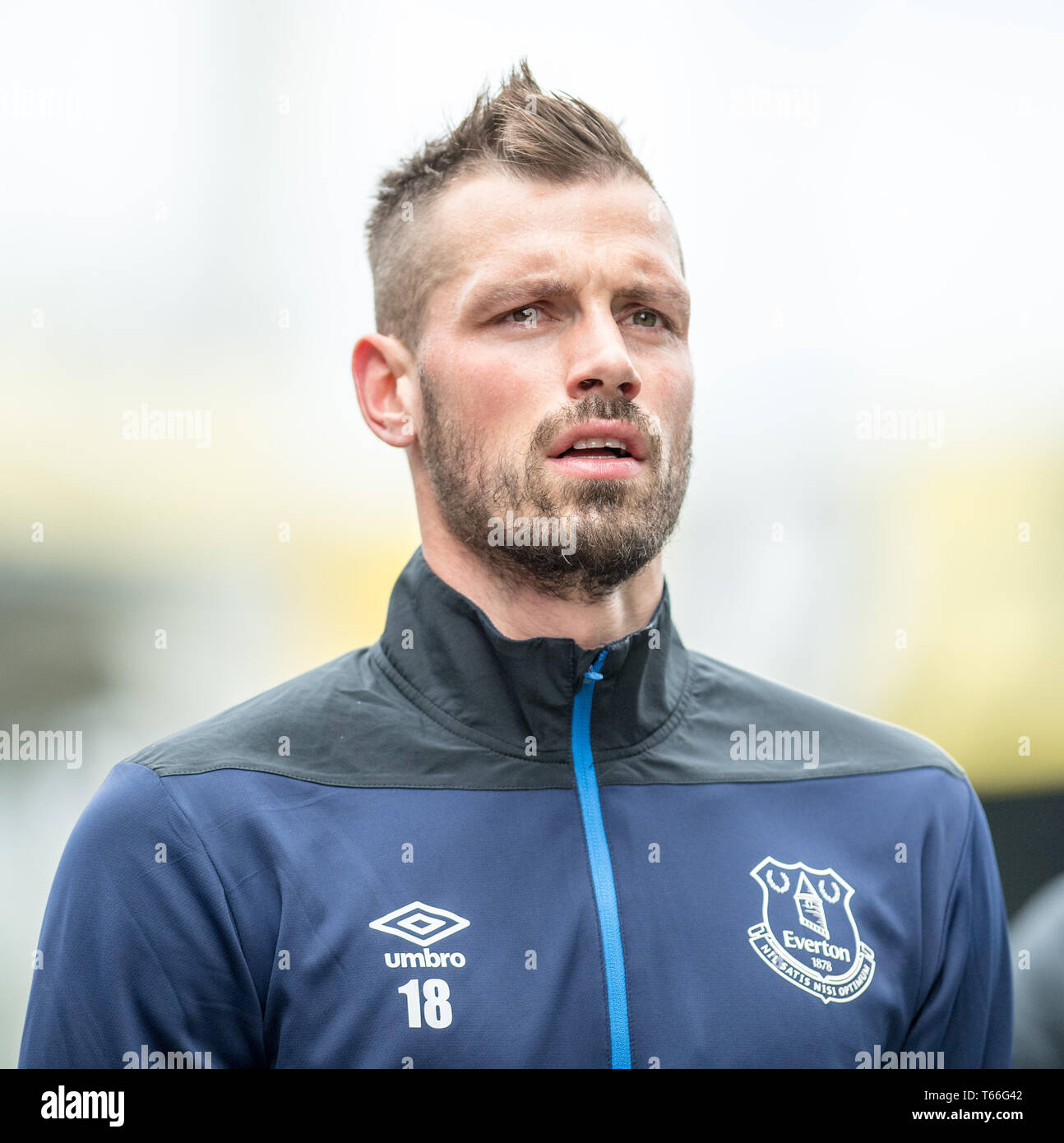 LONDON, ENGLAND - APRIL 27: Morgan Schneiderlin of Everton FC looks on during the Premier League match between Crystal Palace and Everton FC at Selhurst Park on April 27, 2019 in London, United Kingdom. (Photo by Sebastian Frej/MB Media/Getty Images) - Stock Image