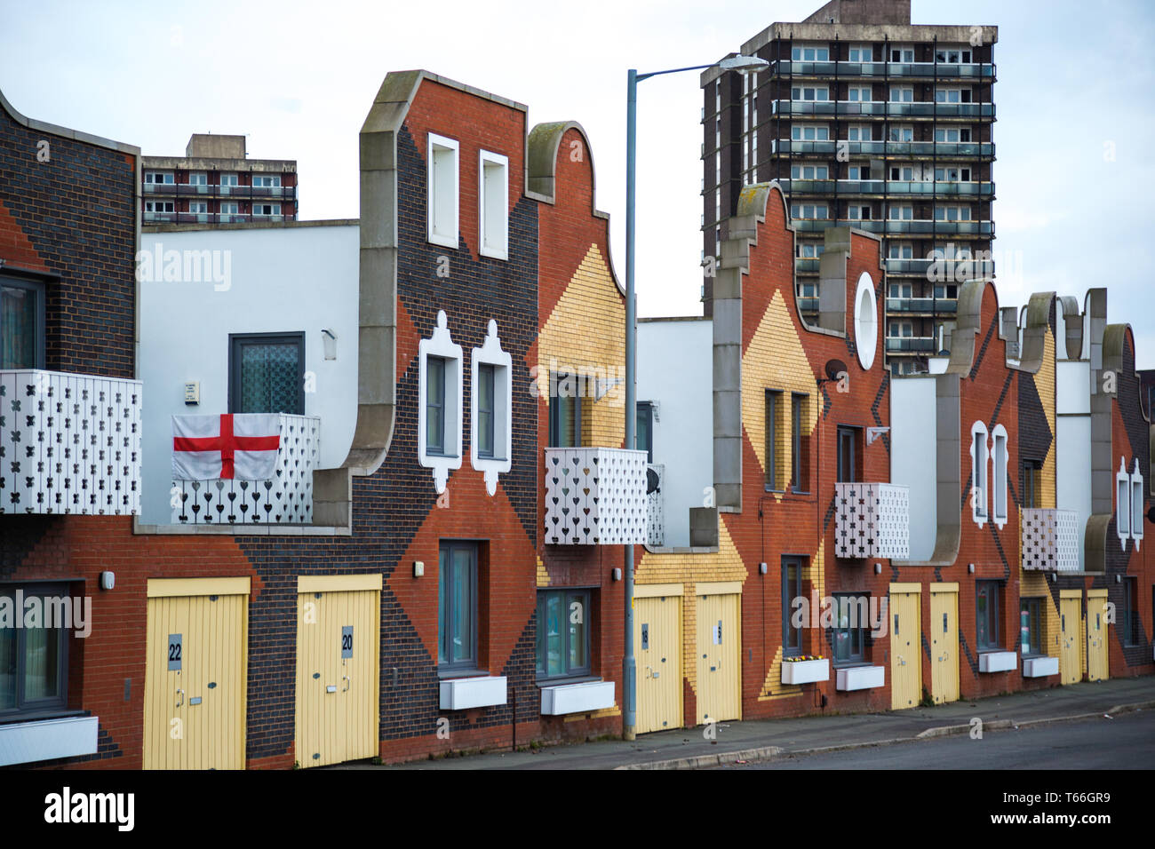 Woodward Place in East Manchester - Colourful council houses with original architecture in New Islington Manchester - Stock Image