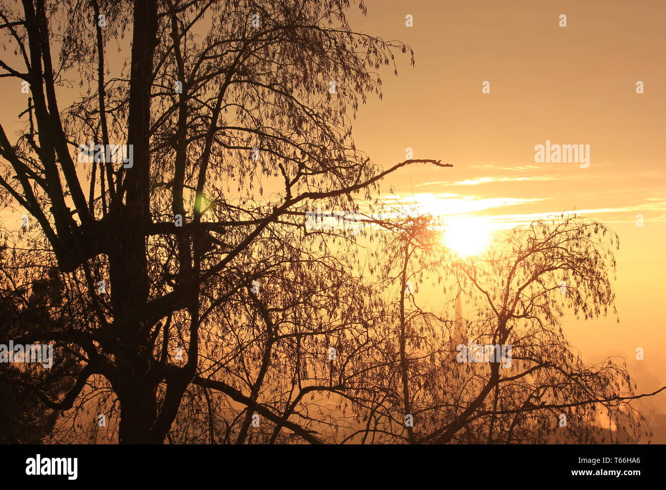 Colorful sunset on a cold winter evening - Stock Image